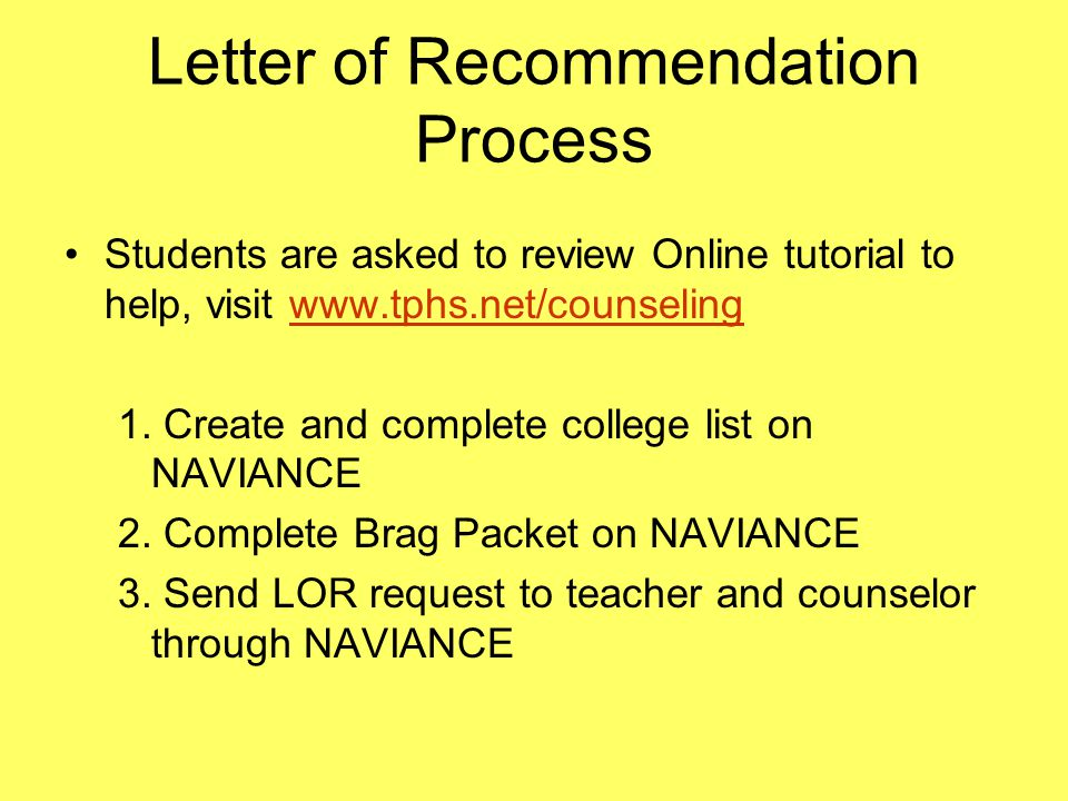 Letter of Recommendation Process