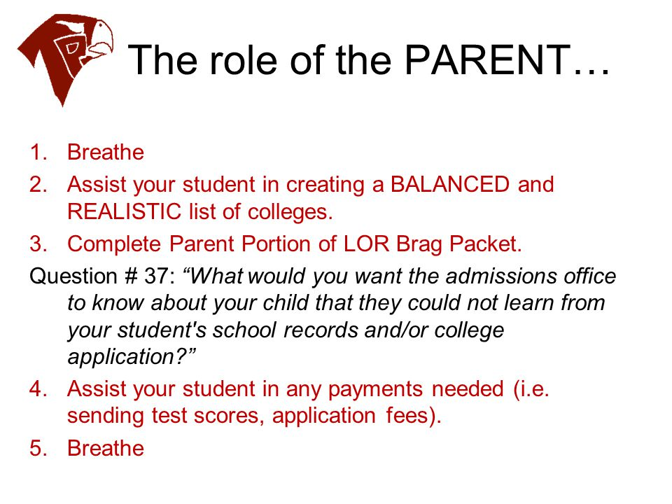 The role of the PARENT… Breathe