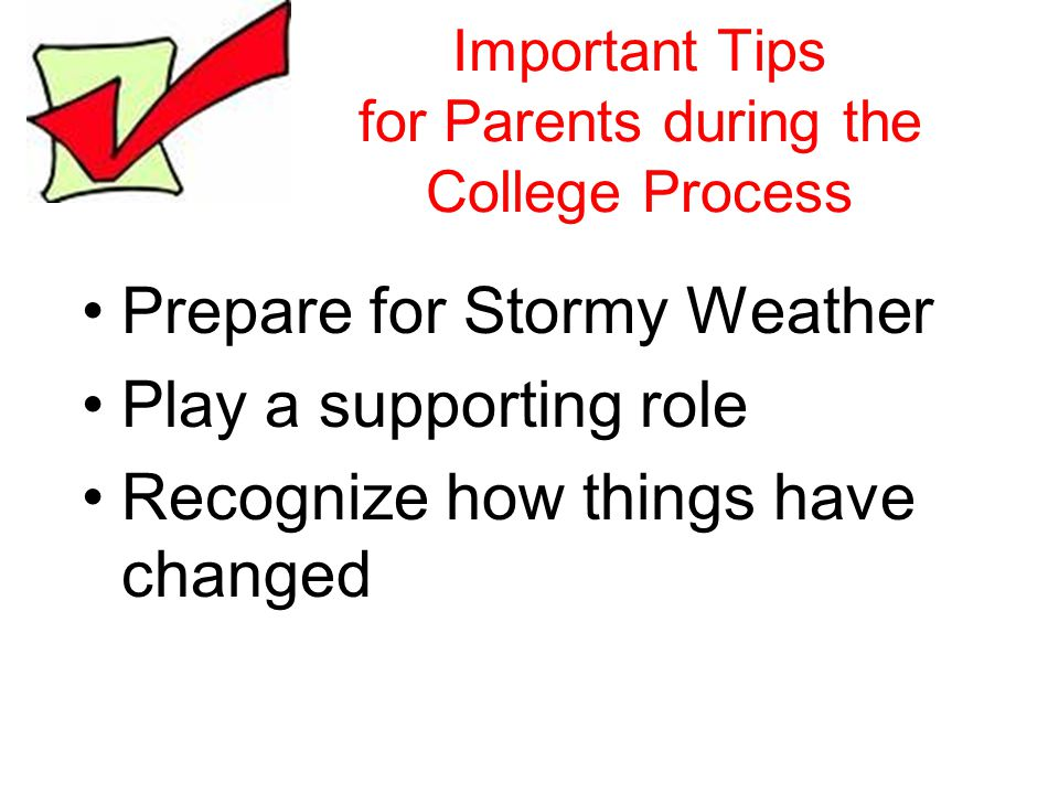 Important Tips for Parents during the College Process