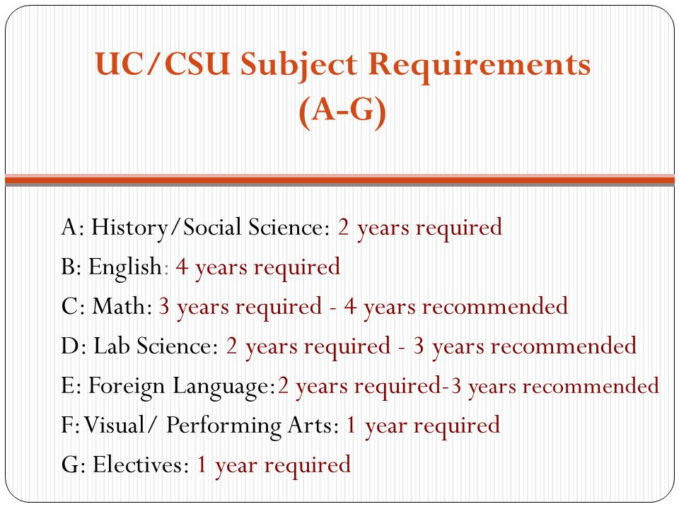 UC/CSU Subject Requirements (A-G)