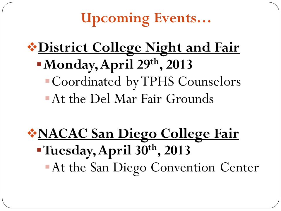 District College Night and Fair Coordinated by TPHS Counselors
