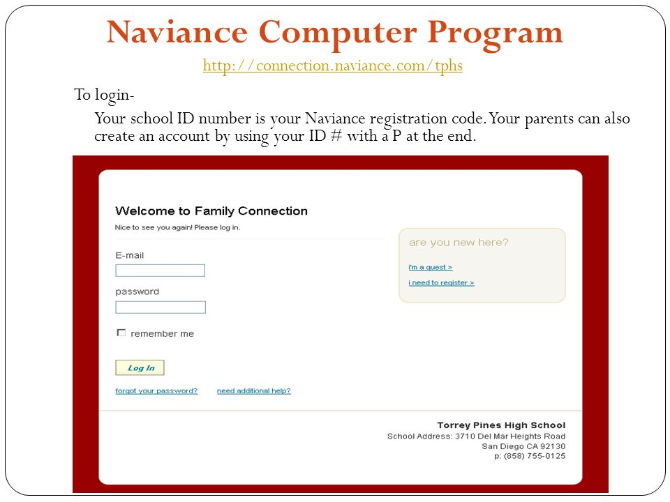 Naviance Computer Program http://connection.naviance.com/tphs