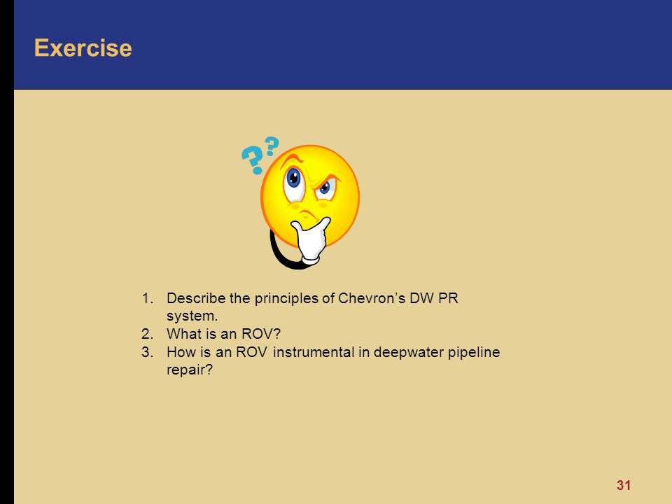 Exercise Describe the principles of Chevron's DW PR system.