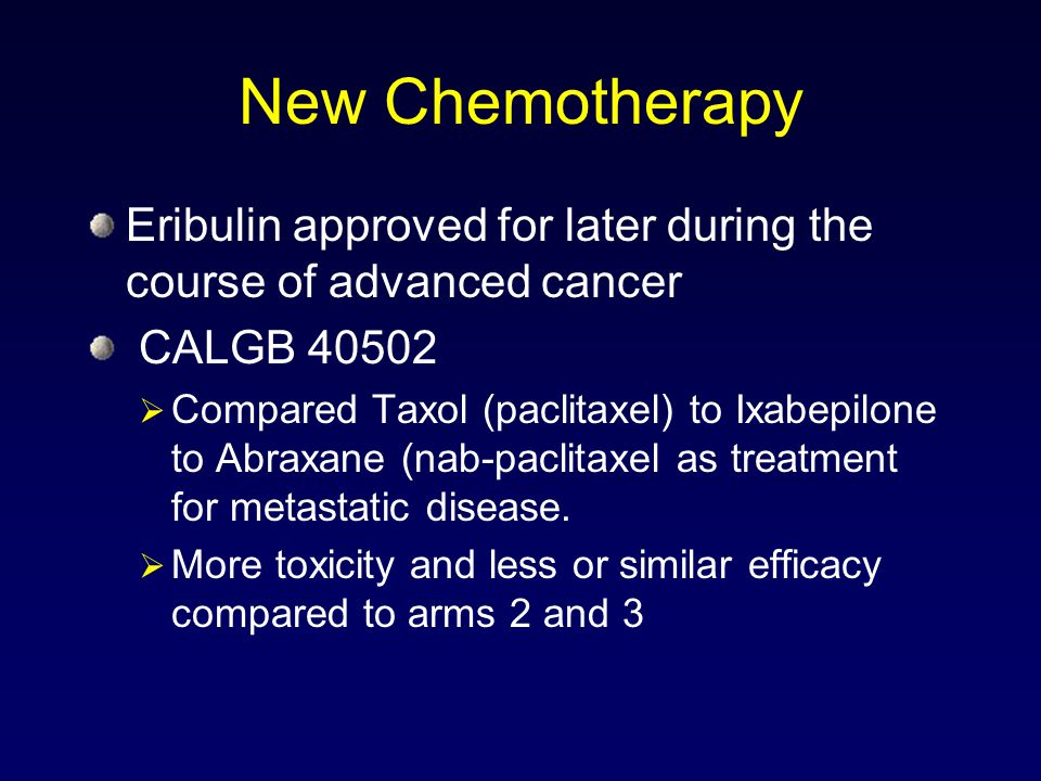 New Chemotherapy Eribulin approved for later during the course of advanced cancer. CALGB 40502.