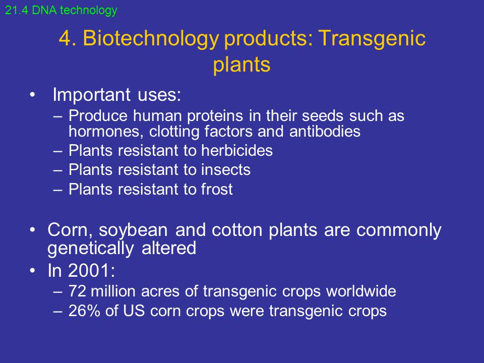 4. Biotechnology products: Transgenic plants