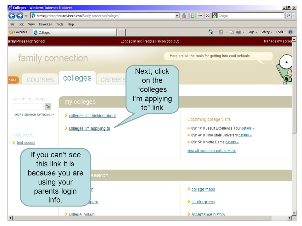 Next, click on the colleges I'm applying to link