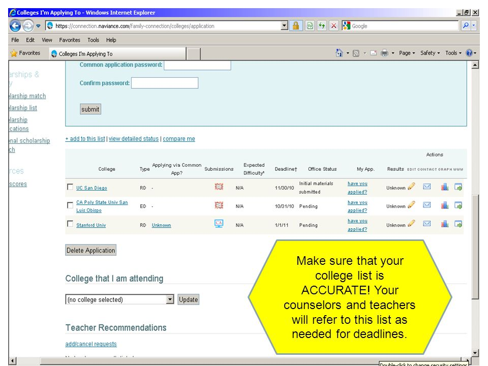 Make sure that your college list is ACCURATE