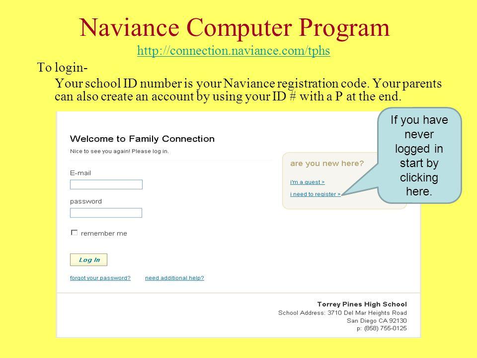Naviance Computer Program http://connection.naviance.com/tphs