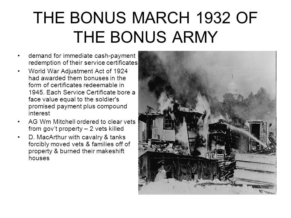 THE BONUS MARCH 1932 OF THE BONUS ARMY