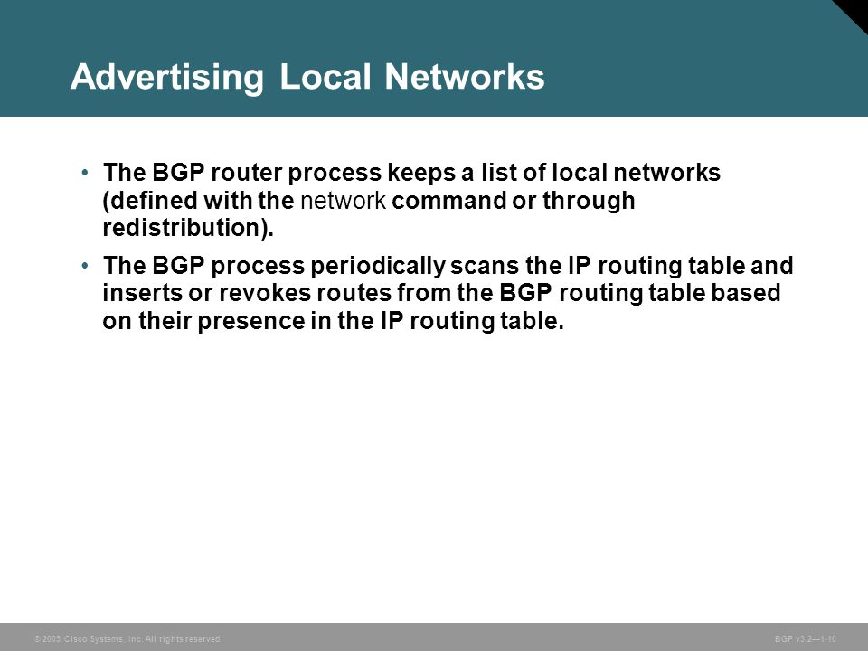 Advertising Local Networks