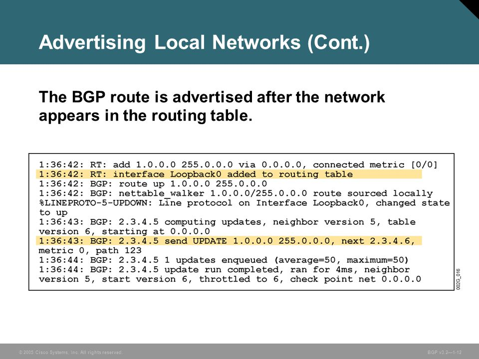 Advertising Local Networks (Cont.)