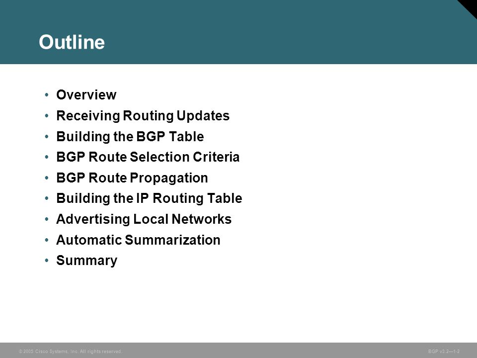 Outline Overview Receiving Routing Updates Building the BGP Table