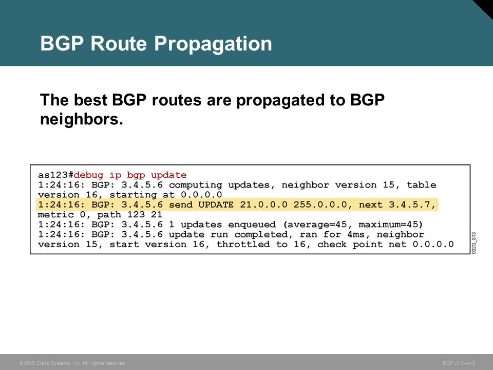 BGP Route Propagation The best BGP routes are propagated to BGP neighbors.