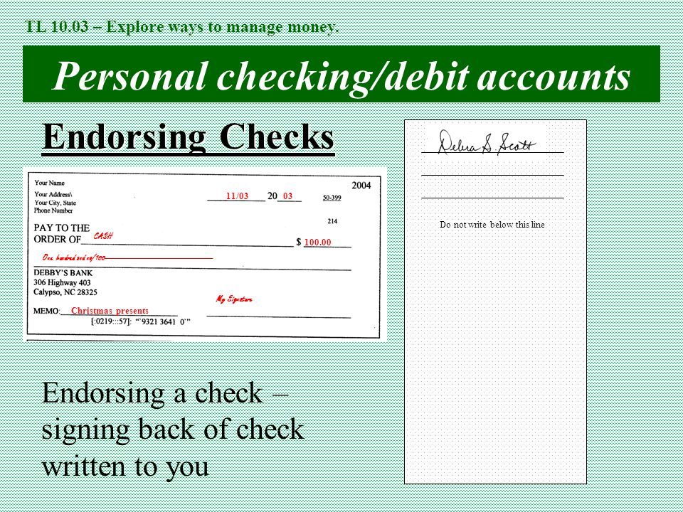 Personal checking/debit accounts