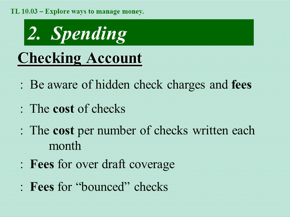 2. Spending Checking Account