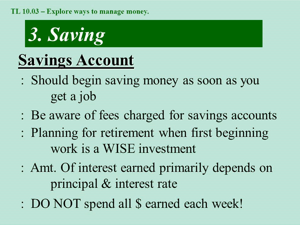 3. Saving Savings Account