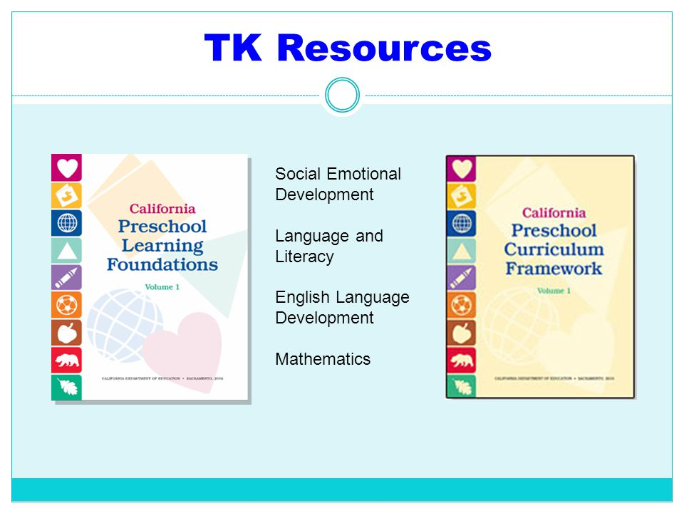 TK Resources Social Emotional Development Language and Literacy