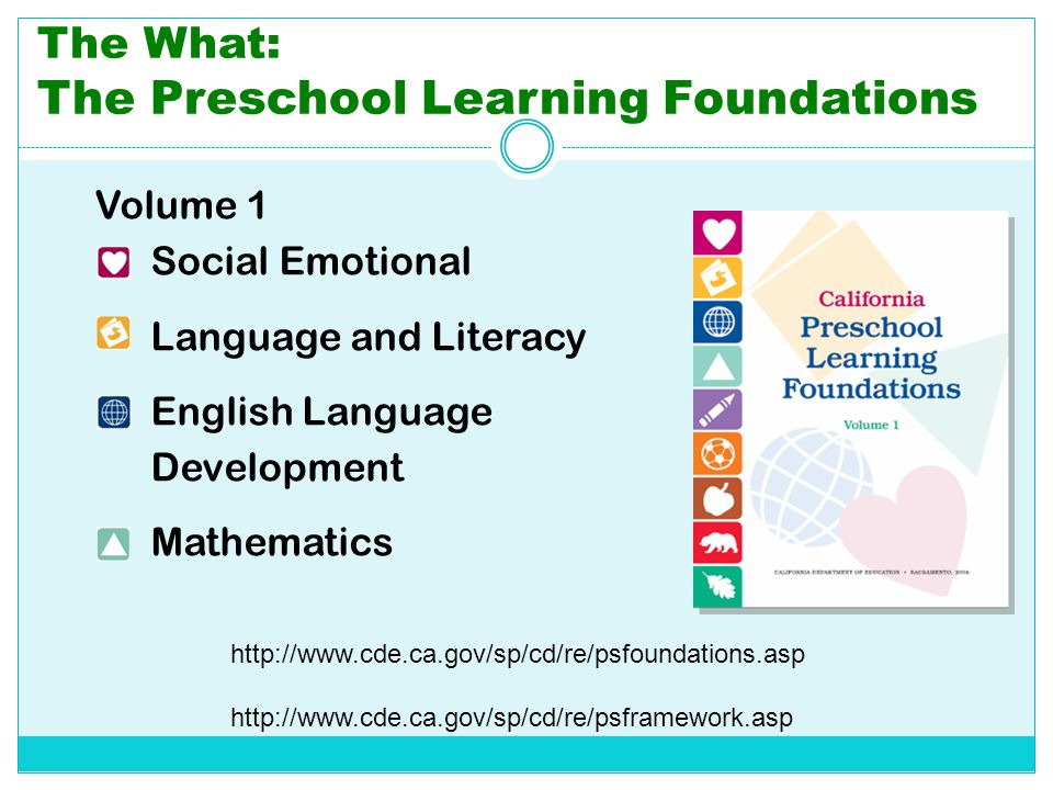 The What: The Preschool Learning Foundations