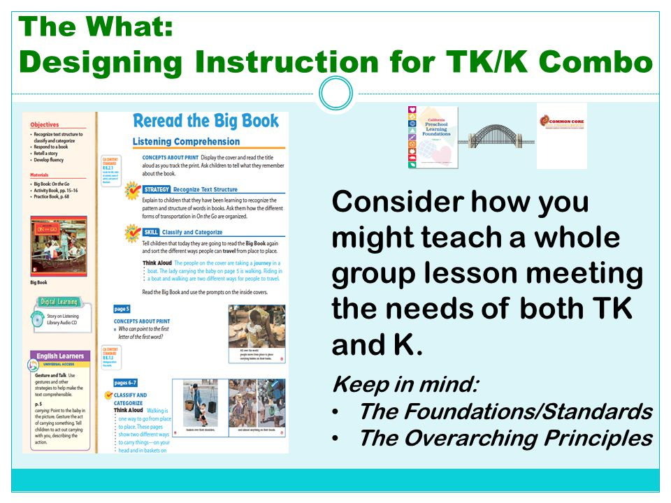 The What: Designing Instruction for TK/K Combo