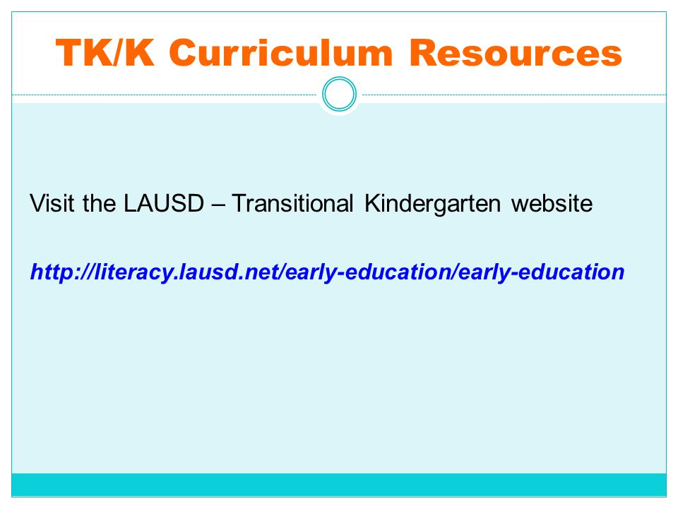 TK/K Curriculum Resources