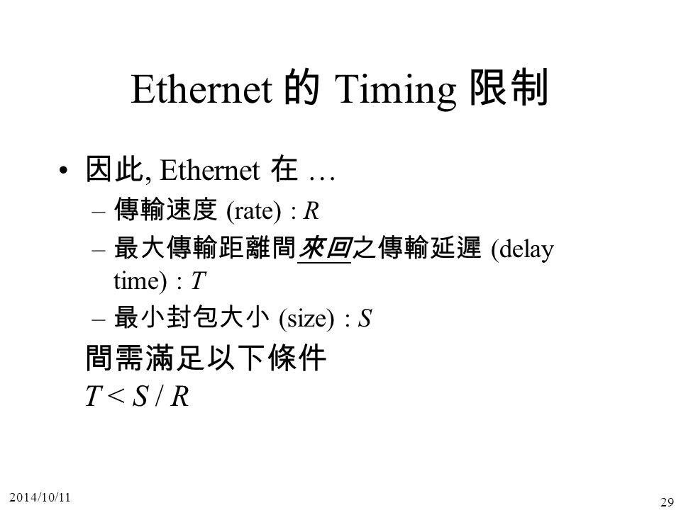 Ethernet 的 Timing 限制 因此, Ethernet 在 … 間需滿足以下條件 T < S / R