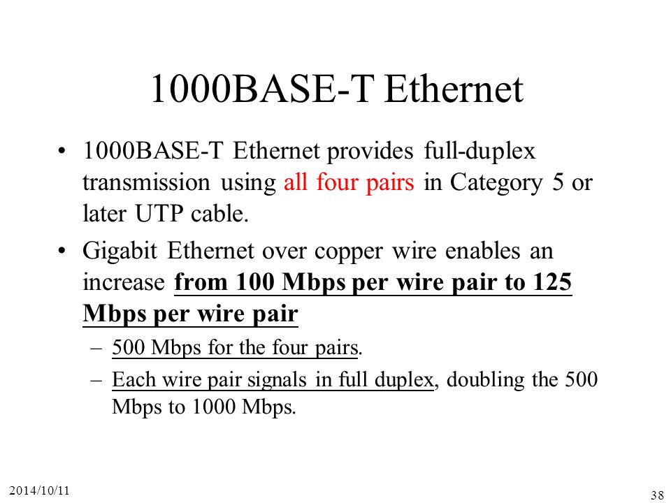 1000BASE-T Ethernet 1000BASE-T Ethernet provides full-duplex transmission using all four pairs in Category 5 or later UTP cable.