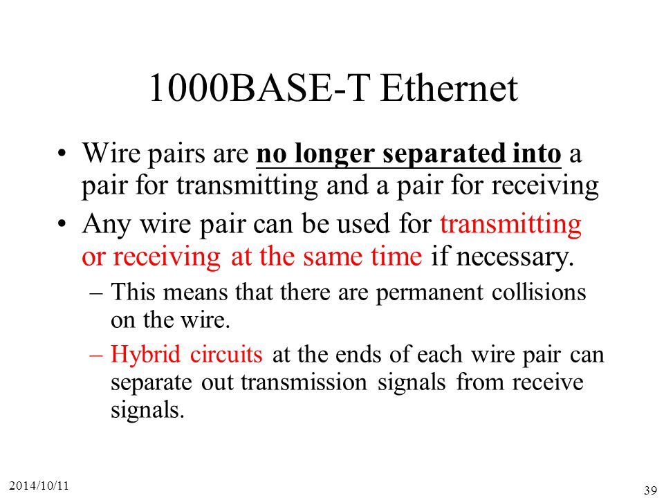 1000BASE-T Ethernet Wire pairs are no longer separated into a pair for transmitting and a pair for receiving.
