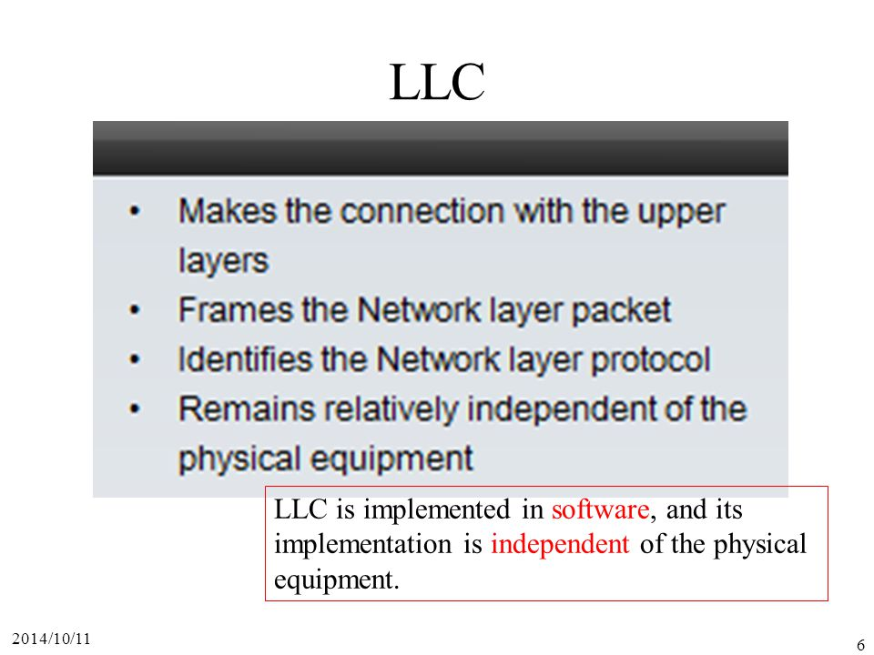 LLC LLC is implemented in software, and its