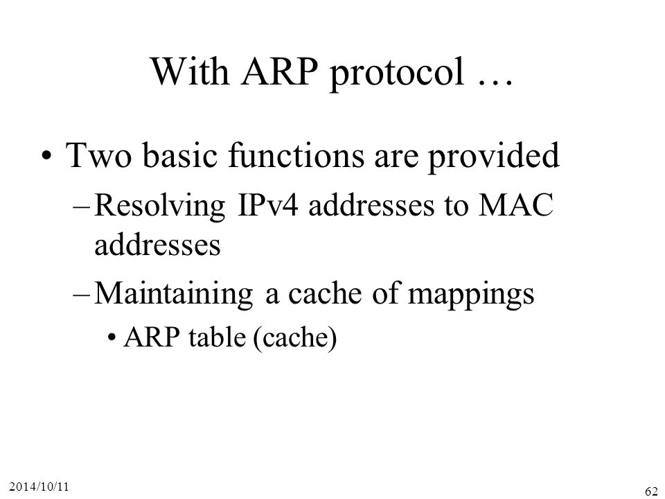 With ARP protocol … Two basic functions are provided