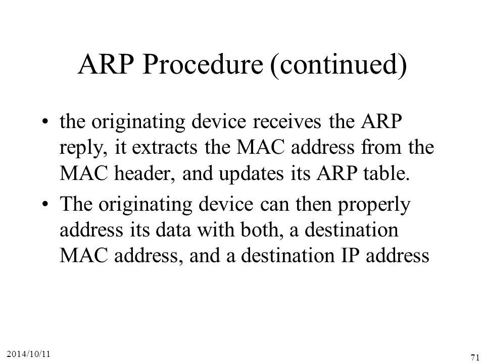 ARP Procedure (continued)