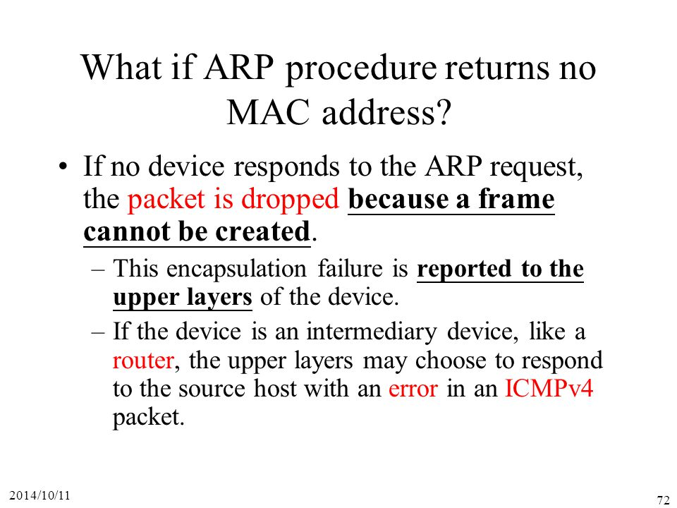 What if ARP procedure returns no MAC address