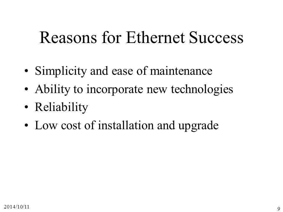 Reasons for Ethernet Success