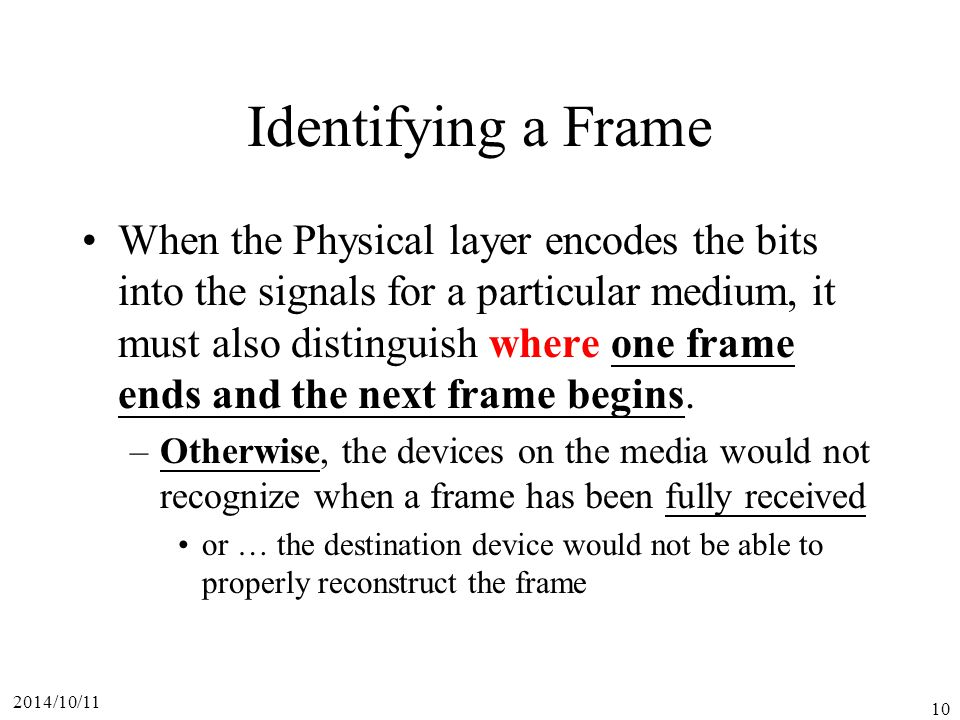 Identifying a Frame