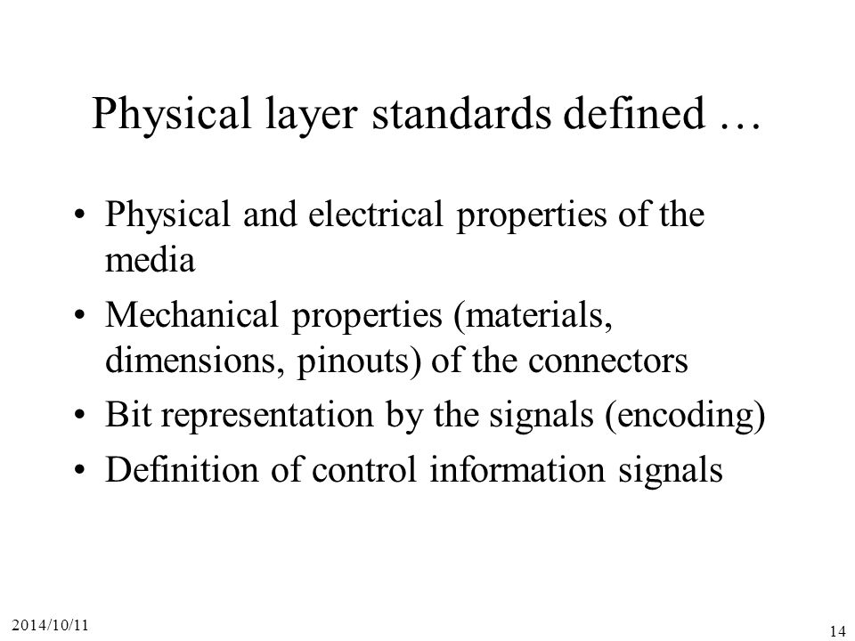 Physical layer standards defined …