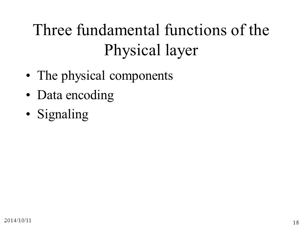 Three fundamental functions of the Physical layer