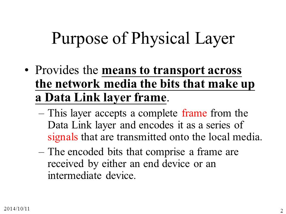 Purpose of Physical Layer