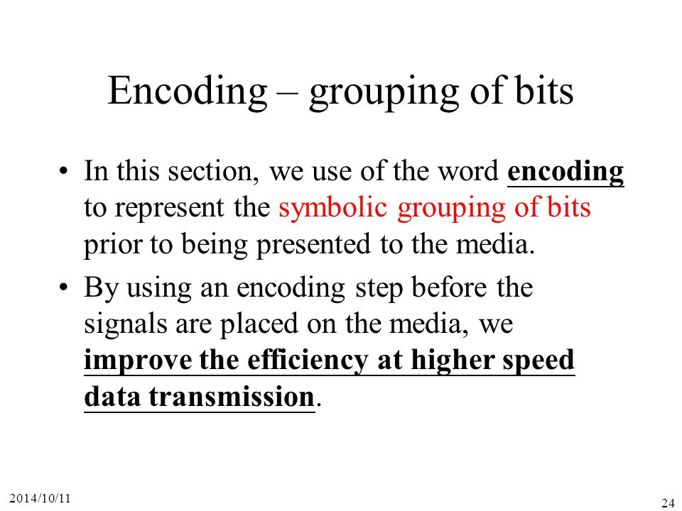 Encoding – grouping of bits