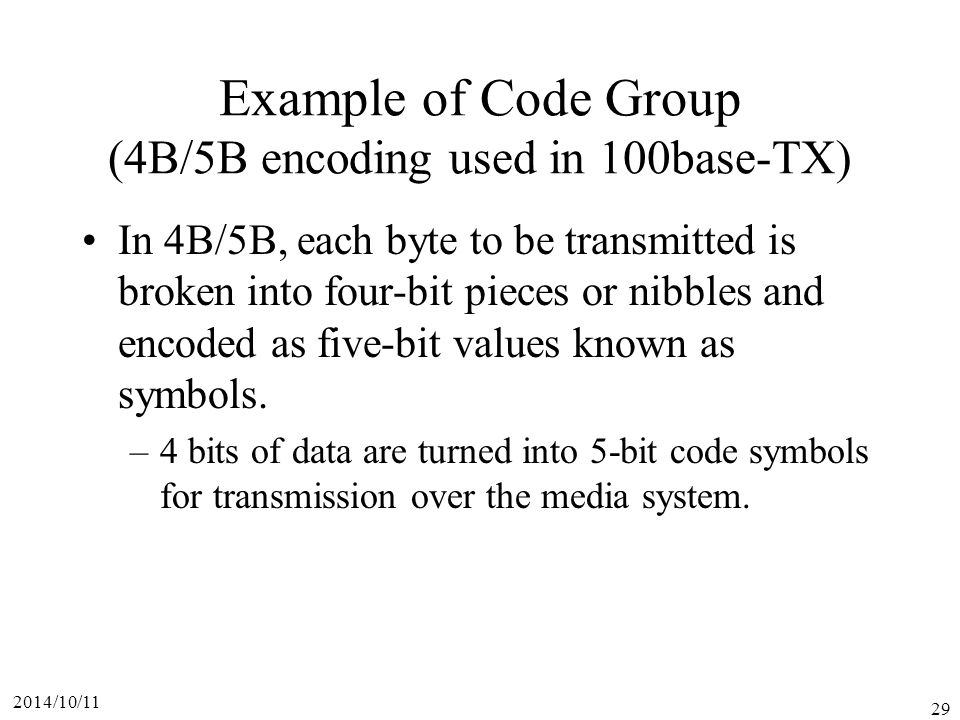 Example of Code Group (4B/5B encoding used in 100base-TX)