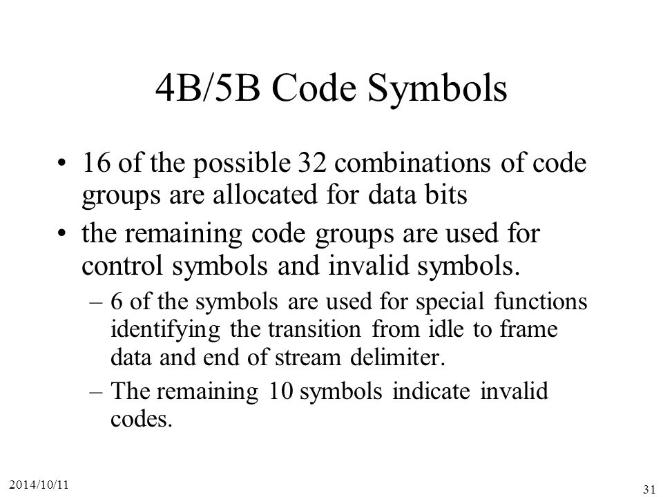 4B/5B Code Symbols 16 of the possible 32 combinations of code groups are allocated for data bits.