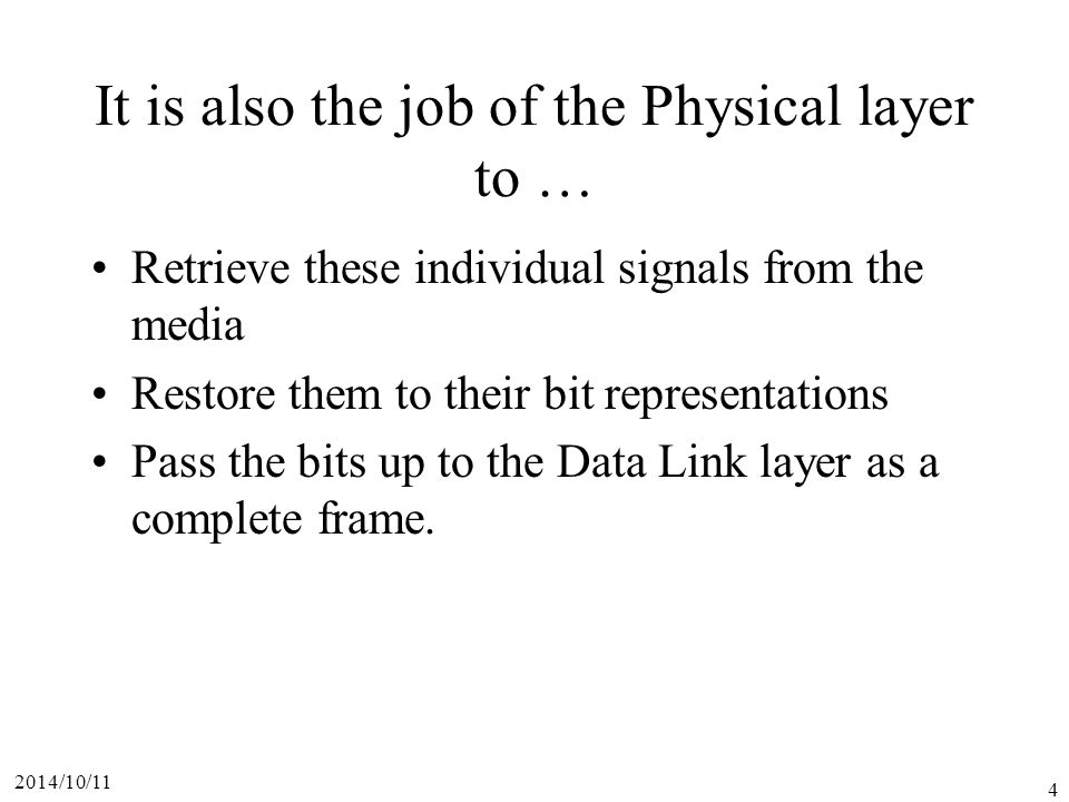 It is also the job of the Physical layer to …