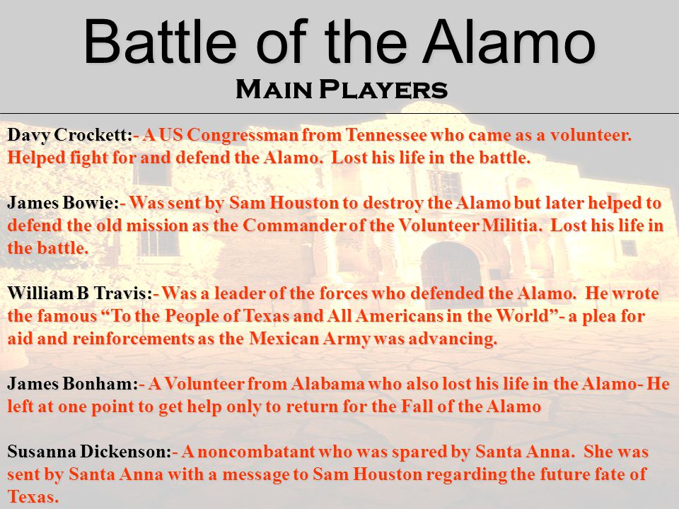 Battle of the Alamo Main Players