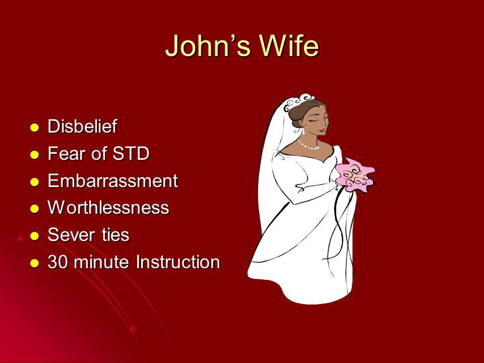 John's Wife Disbelief Fear of STD Embarrassment Worthlessness
