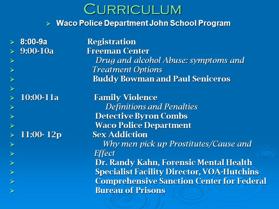 Waco Police Department John School Program