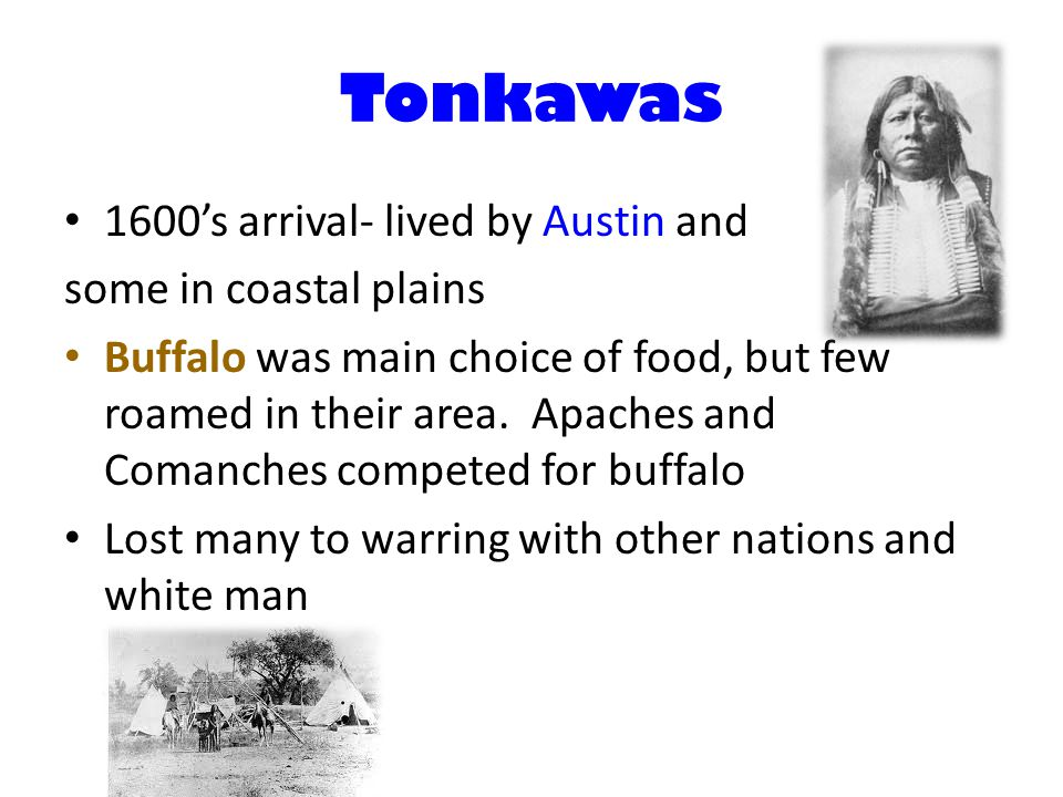 Tonkawas 1600's arrival- lived by Austin and some in coastal plains