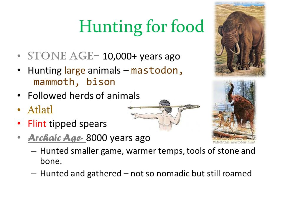 Hunting for food Stone Age- 10,000+ years ago