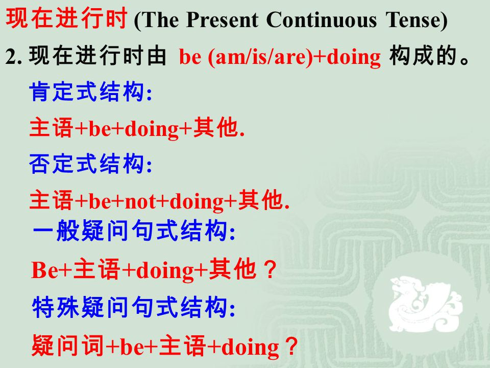现在进行时 (The Present Continuous Tense)