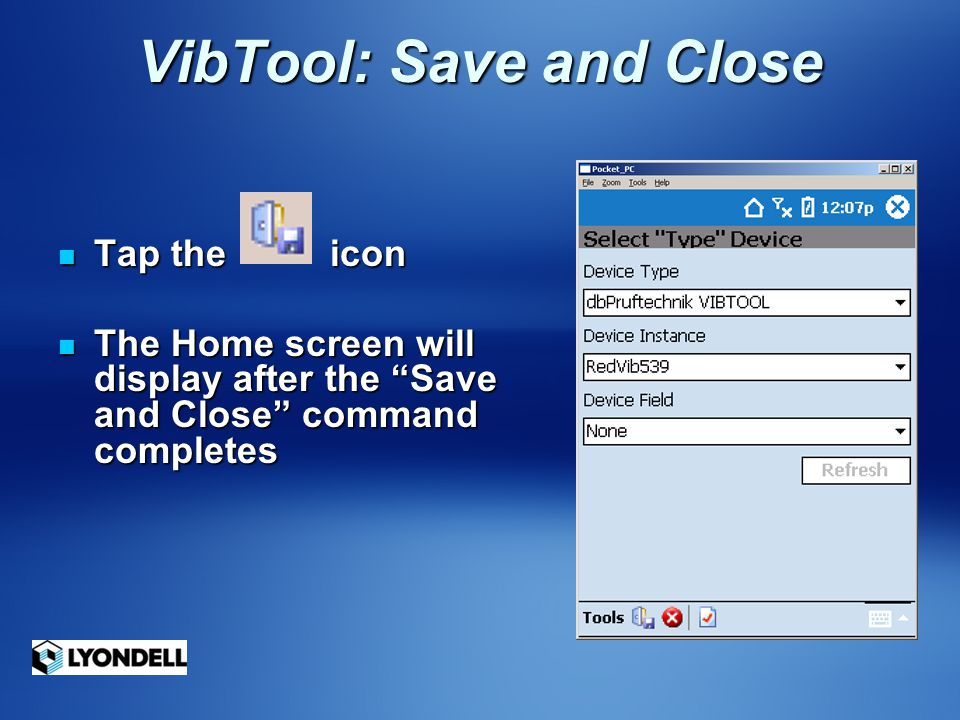 VibTool: Save and Close