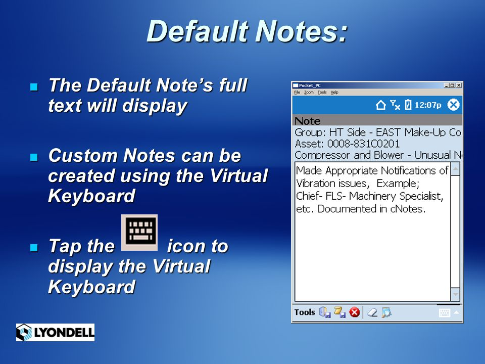 Default Notes: The Default Note's full text will display