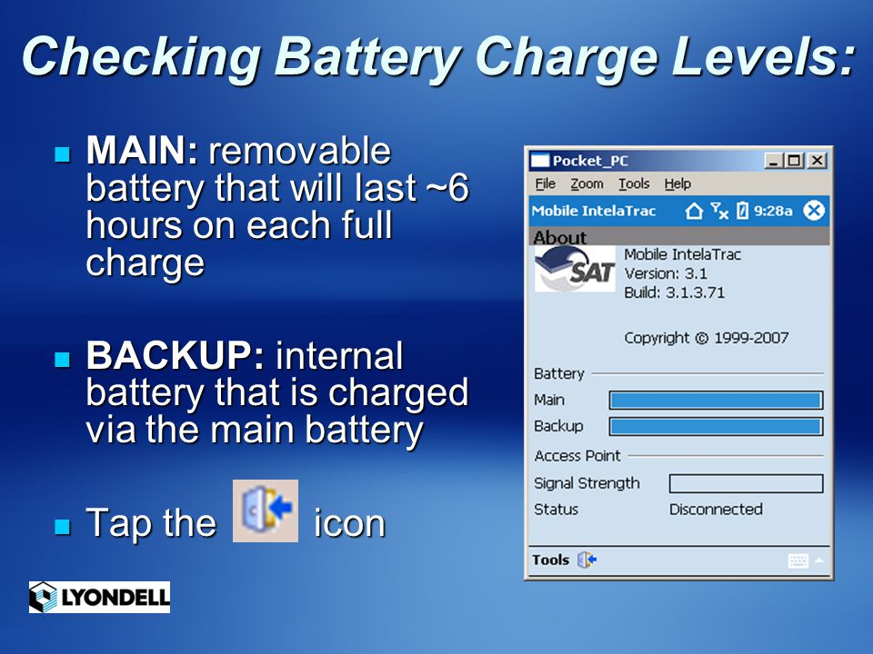 Checking Battery Charge Levels: