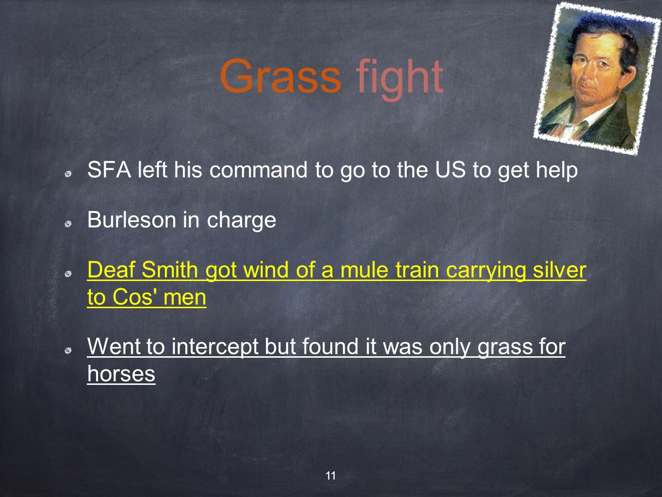Grass fight SFA left his command to go to the US to get help